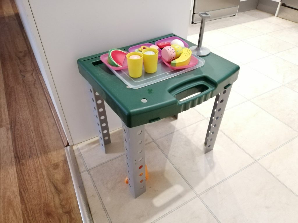 Workbench for kids - my son made a table for serving food